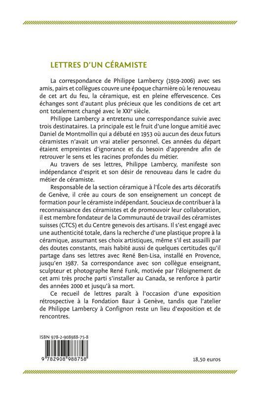 Lettres d'un céramiste. Philippe Lambercy à Daniel De Montmollin, René Ben-Lisa et René Funk